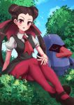 1girl blue_sky blush bow breasts brown_hair day dress gen_3_pokemon gym_leader hair_bow hair_pulled_back highres large_breasts long_hair looking_at_viewer mary_janes nosepass outdoors pantyhose pinafore_dress pink_legwear pokemon pokemon_(creature) red_eyes red_neckwear shoes short_sleeves sitting sky tree tsutsuji_(pokemon) twintails wakaba_(wata_ridley)
