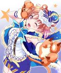 1girl ;d ahoge belt blue_cape blue_neckwear blush bow bowtie braid cape crown eyebrows_visible_through_hair facial_mark fur-trimmed_cape fur_trim gloves hand_up kanabun lion_tail looking_at_viewer love_live! love_live!_sunshine!! mini_crown one_eye_closed open_mouth orange_hair paw_gloves paws red_eyes shirt short_hair shorts side_braid smile solo star striped striped_gloves striped_legwear tail takami_chika teeth white_shirt