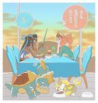 aqua_eyes black_hair blue_eyes blue_hair dark_skin dinner drednaw earrings eating eyewear_on_head food gen_8_pokemon gym_leader hoop_earrings jewelry long_hair multicolored_hair ochadzuke orange_hair pasta pokemon pokemon_(creature) pokemon_(game) pokemon_swsh pokemon_swsh_(anime) rurina_(pokemon) side_ponytail sonia_(pokemon) spaghetti sunglasses sunset tablecloth translation_request two-tone_hair yamper