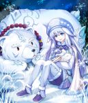1girl absurdres ainu_clothes animal bead_necklace beads bear blue_eyes blue_hair cape fate/grand_order fate_(series) hat highres holding holding_animal jewelry long_hair mittens necklace pantyhose polar_bear rabbit shirou_(fate/grand_order) sitonai sitting snow snowflakes thigh-highs user_zfhc5573