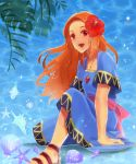1girl :d blue_dress dress flower hair_flower hair_ornament highres jewelry long_hair looking_at_viewer maki_soyogo marin_(the_legend_of_zelda) necklace open_mouth orange_hair red_eyes sandals seashell shell short_sleeves sitting smile solo starfish the_legend_of_zelda the_legend_of_zelda:_link's_awakening water