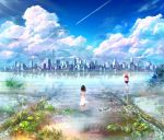 1girl artist_request black_hair building city clouds cloudy_sky fish lily_pad ocean reflection road_sign sign sky wading water
