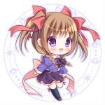 1girl :d bangs black_bow black_legwear black_skirt blue_shirt blush bow braid brown_footwear brown_hair chibi collared_shirt eyebrows_visible_through_hair frilled_skirt frills full_body hair_bow juliet_sleeves kneehighs loafers long_hair long_sleeves nursery_rhyme open_mouth pleated_skirt puffy_sleeves red_bow ryuuka_sane shirt shoes skirt sleeves_past_wrists smile solo tomoe_makina twin_braids two_side_up violet_eyes white_background
