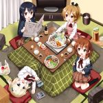 4girls :d apron bag black_hair black_legwear black_ribbon blazer blonde_hair blue_eyes blue_jacket blush brown_eyes brown_hair brown_skirt chopsticks collared_shirt commentary_request copyright_request curtains dress_shirt flat_screen_tv food hair_ribbon highres holding holding_newspaper hotpot indoors jacket kneehighs kneeling kotatsu light_brown_hair long_hair lying manga_time_kirara multiple_girls nabe neck_ribbon newspaper no_shoes on_side open_blazer open_clothes open_jacket open_mouth oven_mitts pink_apron plastic_bag pleated_skirt ponytail red_eyes red_ribbon ribbon ruu_(tksymkw) school_bag school_uniform shirt skirt smile table television trash_can tray very_long_hair white_shirt