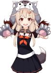 1girl :d absurdres animal_hood black_serafuku black_skirt blonde_hair commentary_request eyebrows_visible_through_hair hair_flaps hair_ornament hairclip highres hood ichi kantai_collection long_hair looking_at_viewer neckerchief open_mouth paws pleated_skirt red_eyes red_neckwear remodel_(kantai_collection) revision school_uniform serafuku short_sleeves simple_background skirt smile solo standing underwear v-shaped_eyebrows white_background yuudachi_(kantai_collection)