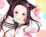 1girl alternate_costume animal_ears bare_shoulders blush cat_ears commentary_request face fangs fish hair_ribbon highres in_mouth japanese_clothes kamado_nezuko kimetsu_no_yaiba kimono looking_at_viewer multicolored nail_polish pink_eyes pink_nails pink_ribbon ribbon signature sleeves_past_wrists slit_pupils solo uosaasou white_kimono
