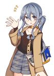 1girl :d absurdres bag bangs blue_eyes blue_hair blush brown_coat brown_shirt choker coat collarbone commentary_request earrings eyebrows_visible_through_hair glasses gotland_(kantai_collection) grey_shorts hair_between_eyes hand_up highres hoop_earrings ichi jewelry kantai_collection long_hair long_sleeves mole mole_under_eye open_clothes open_coat open_mouth round_eyewear shirt short_shorts shorts side_ponytail smile solo wide_sleeves yellow_choker
