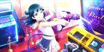 blue_hair blush dress long_hair love_live!_school_idol_festival_all_stars pink_eyes smile tsushima_yoshiko wink