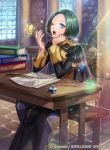 1boy blue_eyes boots bug butterfly epaulettes faceless faceless_male feathers fire_emblem fire_emblem:_three_houses fire_emblem_cipher garreg_mach_monastery_uniform green_hair insect linhardt_von_hevring long_hair low_ponytail matsurika_youko official_art one_eye_closed open_mouth sitting solo sparkle teeth window yawning