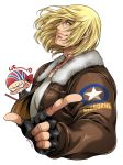 2boys anger_vein bandana billy_kane blonde_hair blue_eyes bomber_jacket fatal_fury fingerless_gloves gloves highres jacket looking_at_viewer miru_(mill_36) multiple_boys pointing terry_bogard