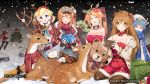 6+girls absurdres animal_costume antlers axe bag battle_axe character_request christmas dollar_bill doughnut fake_facial_hair fake_mustache fake_nose food g11_(girls_frontline) gem girls_frontline glasses hat highres kalina_(girls_frontline) multiple_girls nintendo_switch official_art playing_games reindeer reindeer_antlers reindeer_costume rfb_(girls_frontline) santa_costume santa_hat scarf scarf_over_mouth shopping_bag sleeping snow snowing stuffed_animal stuffed_toy teddy_bear weapon zas_m21_(girls_frontline)