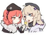 2girls aa-12_(girls_frontline) bangs beret blue_eyes candy food fur_trim girls_frontline hair_ornament hat holding holding_food lollipop looking_at_another mp7_(girls_frontline) multiple_girls open_mouth redhead simple_background star star_hair_ornament tongue tongue_out white_background yellow_eyes zocehuy