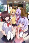 4girls :d alternate_costume arm_hug bangs bat_wings black_bow black_legwear black_skirt blonde_hair blue_hair blush bow bowtie braid breasts brown_footwear brown_hair bubble_tea cardigan commentary_request contemporary cowboy_shot crepe crescent crescent_hair_ornament cup disposable_cup drinking drinking_straw eyebrows_visible_through_hair food hair_between_eyes hair_bow hair_ornament hair_tubes hairband hakurei_reimu hand_in_pocket hand_up hands_up highres holding holding_cup holding_food hyurasan kirisame_marisa loafers long_hair looking_at_viewer miniskirt multiple_girls no_hat no_headwear open_mouth outdoors patchouli_knowledge petticoat pink_cardigan pink_vest red_bow red_eyes red_hairband red_neckwear remilia_scarlet school_uniform shirt shoes short_hair short_sleeves sidelocks single_braid skirt skirt_set small_breasts smile socks standing sweater_vest touhou untucked_shirt vest white_shirt wings yellow_eyes yellow_vest