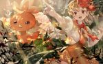 1girl blonde_hair brown_dress brown_skirt cape dress fire gen_3_pokemon grass hand_up looking_away multicolored_hair nail_polish niwatari_kutaka open_mouth piyo_(sqn2idm751) pokemon pokemon_(creature) puffy_short_sleeves puffy_sleeves red_scarf redhead scarf short_hair short_sleeves skirt smile torchic touhou two-tone_hair wings