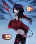 1girl absurdres ass black_hair black_legwear black_swimsuit blue_background blush collar commentary cowboy_shot demon_girl demon_horns demon_tail fire from_side halloween highres horns jack-o'-lantern jacket long_hair looking_at_viewer off_shoulder ompf one-piece_swimsuit open_clothes open_jacket open_mouth original pitchfork red_eyes red_jacket sleeves_past_wrists slit_pupils solo standing swimsuit tail thigh-highs