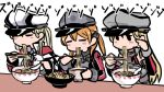 3girls anchor anchor_hair_ornament bangs bismarck_(kantai_collection) blonde_hair blush blush_stickers bowl breasts capelet chopsticks closed_eyes detached_sleeves eating food graf_zeppelin_(kantai_collection) hair_ornament hat holding holding_chopsticks kantai_collection long_hair long_sleeves multiple_girls noodles peaked_cap prinz_eugen_(kantai_collection) simple_background terrajin twintails white_background