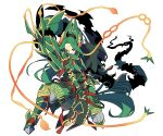 androgynous armor dual_wielding facial_mark fighting_stance forehead_mark full_body gold_trim greaves green_hair holding holding_weapon long_hair personification pokemon ponytail rayquaza red_eyes simple_background smile standing very_long_hair weapon white_background zazaki