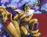 1boy armor artist_name cape digimon digimon_xros_wars egyptian_clothes gloves highres level-00 mask monster mummy pharaohmon red_eyes shield smoke solo staff