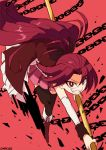 1girl artist_name boots candy chain chancake clenched_teeth detached_sleeves eyebrows_visible_through_hair eyelashes eyes_visible_through_hair fighting_stance floating_hair food food_in_mouth frown grin holding holding_spear holding_weapon knee_boots long_hair looking_at_viewer mahou_shoujo_madoka_magica pleated_skirt pocky polearm ponytail red_background red_eyes red_footwear red_shirt red_skirt red_theme redhead sakura_kyouko shiny shiny_hair shirt sidelocks simple_background skirt smile solo spear standing standing_on_one_leg teeth v-shaped_eyebrows weapon