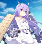 1girl ahoge azur_lane blue_sky cannon commentary cowboy_shot day dress dress_bow elbow_gloves flight_deck gloves hair_ornament halter_dress long_hair nogisaka_kushio pantyhose purple_hair rigging sky solo standing stuffed_alicorn turret unicorn_(azur_lane) very_long_hair violet_eyes white_dress white_gloves white_legwear