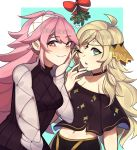 2girls alternate_costume blonde_hair bow choker closed_mouth fire_emblem fire_emblem_fates hairband lazymimium long_hair long_sleeves multiple_girls one_eye_closed open_mouth ophelia_(fire_emblem) pink_eyes pink_hair red_bow simple_background smile soleil_(fire_emblem) twitter_username white_hairband