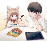 1boy 1girl 40hara animal_ear_fluff animal_ears aqua_eyes bangs black_hair blonde_hair cat_ears chips closed_mouth clothes_writing collar eating eyebrows_visible_through_hair feeding food hand_on_own_cheek kinako long_hair original pet_collar red_collar shirt short_sleeves t-shirt tablet_pc white_shirt