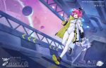 1girl fogriver hair_ornament jacket open_mouth original pink_hair planet satellite shoes sneakers tail violet_eyes