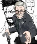 3boys beard berezovich_kryuger_(girls_frontline) black-framed_eyewear black_neckwear black_shirt black_suit cane collared_shirt commentary_request facial_hair formal girls_frontline glasses grey_hair havel_witkin_(girls_frontline) holding holding_cane keshin looking_at_viewer multiple_boys mustache necktie old_man partially_colored raised_eyebrow reaching_out scar serious shirt simple_background smile suit white_background yegor_(girls_frontline)