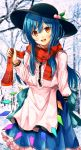 1girl apron bangs black_headwear blue_hair blue_skirt brown_eyes dress food frills fruit fuussu_(21-kazin) hat highres hinanawi_tenshi leaf long_hair long_sleeves looking_at_viewer open_mouth peach rainbow_gradient scarf scarf_grab shirt skirt smile snow touhou tree white_shirt winter