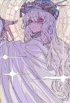 1girl absurdres chromatic_aberration hat highres huge_filesize kogecha_(coge_ch) long_hair looking_back original red_eyes robe solo white_hair