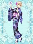 1girl animal_print blonde_hair blue_background breasts butterfly_on_hand butterfly_print commission flower full_body hair_flower hair_ornament hand_up hi-na1 japanese_clothes kerberos_blade kimono looking_at_viewer medium_breasts obi purple_butterfly sandals sash short_hair solo standing