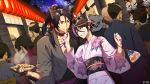 6+boys 6+girls ahoge animal_ears baby bag bagged_fish black_gloves black_hair black_kimono clenched_hand crowd dairoku_youhei eating eye_contact fan feeding festival fish floral_print folding_fan food gloves grin hair_bun hand_up highres japanese_clothes kimono lantern long_hair looking_at_another mask multicolored_hair multiple_boys multiple_girls night night_sky official_art outdoors paper_lantern partly_fingerless_gloves ponytail purple_hair purple_nails red_eyes short_hair side_bun sky smile standing topknot two-tone_hair watermark