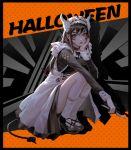1girl absurdres alternate_costume apron enmaided halloween highres horns lips long_hair maid maid_apron maid_headdress mconch original red_eyes skirt