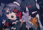 2girls bare_shoulders black_bow black_choker black_hair blush blush_stickers bow bukurote choker eyepatch frills gloves hair_between_eyes hair_over_one_eye heart heart-shaped_pupils long_hair multiple_girls open_mouth original pointing purple_hair red_gloves sharp_teeth smile sweat symbol-shaped_pupils teeth tongue twintails upper_teeth white_bow yellow_eyes