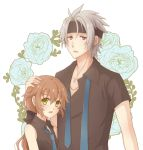 1boy 1girl aono_(aonocrotowa) black_bow black_headband black_shirt blue_flower blue_neckwear blue_rose bow brown_hair collarbone collared_shirt couple earrings eiyuu_densetsu flower green_eyes hair_bow hand_on_another's_head headband jewelry long_hair necklace necktie open_mouth rean_schwartzer red_eyes rose sen_no_kiseki shiny shiny_hair shirt silver_hair sleeveless sleeveless_shirt towa_herschel upper_body white_background wing_collar
