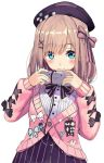 1girl :3 akasaai bangs blue_eyes blue_nails blush bow brown_hair closed_mouth controller game_controller hair_between_eyes hair_bow hair_ornament hairclip holding_controller jewelry long_sleeves looking_at_viewer medium_hair mismatched_nail_polish nijisanji pink_cardigan pink_nails purple_headwear purple_skirt ring shirt simple_background sketch skirt solo striped super_famicom_gamepad suzuhara_lulu vertical-striped_skirt vertical_stripes virtual_youtuber white_background white_shirt