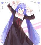 bangs blue_hair blush bow chikattochikachika_(kaguya-sama_wa_kokurasetai) closed_eyes cosplay dancing fujiwara_chika fujiwara_chika_(cosplay) hair_bow hair_ribbon kaguya-sama_wa_kokurasetai_~tensai-tachi_no_renai_zunousen~ long_hair otomachi_una red_neckwear ribbon sailor_collar school_uniform shuujin_academy_uniform smile tod-mugi twintails uniform vocaloid