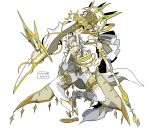 1boy arceus cape closed_eyes facing_viewer full_body gloves hand_up holding holding_weapon long_sleeves male_focus pants personification pokemon scythe solo weapon white_background white_cape white_footwear white_hair white_legwear white_pants yellow_gloves zazaki
