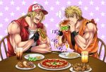 2boys blonde_hair blue_eyes doughnut dougi eating fatal_fury fingerless_gloves food gloves hamburger highres hot_dog jacket laughing miru_(mill_36) multiple_boys pizza ponytail ryou_sakazaki ryuuko_no_ken terry_bogard