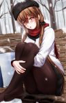 1girl alternate_costume bag black_bow black_headwear black_legwear black_skirt blush bow branch brown_eyes brown_hair coat eyebrows_visible_through_hair fur_trim hair_between_eyes hair_bow hair_ornament hairclip hat highres jacket kantai_collection long_hair long_sleeves looking_at_viewer low_twintails pantyhose papakha red_scarf sabakuomoto scarf shopping_bag sitting skirt snowing solo tashkent_(kantai_collection) tree twintails white_jacket winter winter_clothes winter_coat
