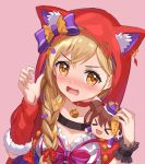 >_< 1girl :d animal_ear_fluff animal_ears animal_hood bang_dream! bow braid brown_background brown_eyes brown_hair capelet character_doll choker claw_pose closed_mouth collarbone detached_sleeves dutch_angle ear_piercing fake_animal_ears fur-trimmed_sleeves fur_trim hair_over_shoulder hand_up hood hood_up hooded_capelet ichigaya_arisa long_hair lunacle open_mouth piercing pink_bow purple_bow red_capelet red_choker red_sleeves simple_background single_detached_sleeve single_wrist_cuff smile solo striped striped_bow toyama_kasumi upper_body wrist_cuffs xd