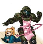 ... 1boy 1girl absurdres apron belt_pouch black_eyes blue_bodysuit bodysuit clenched_hand commission crossover doom_(2016) doom_(game) doomguy gokushufudou highres hoop hula_hoop lying metroid on_stomach parody pink_apron ponytail pouch praetor_suit samus_aran skin_tight space_marine zana zero_suit