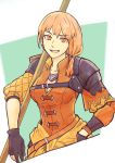 1girl breasts eyebrows_visible_through_hair fire_emblem fire_emblem:_three_houses gloves hand_in_pocket highres leonie_pinelli medium_breasts open_mouth orange_eyes orange_hair partly_fingerless_gloves polearm short_hair side_ponytail solo spear tofumgmg weapon