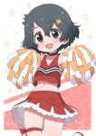 1girl alternate_costume bare_legs bare_shoulders black_hair blue_eyes blush cheerleader choker commentary_request cowboy_shot crop_top eyebrows_visible_through_hair frilled_skirt frills hair_ornament hairclip highres kaban_(kemono_friends) kemono_friends looking_at_viewer midriff multicolored multicolored_clothes multicolored_skirt navel no_hat no_headwear pleated_skirt pom_poms ransusan red_shirt red_skirt shirt short_hair skirt sleeveless smile solo thigh_bow thigh_strap white_skirt
