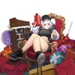 1girl box breasts candy cash_cannon chain chocolate chocolate_bar crossed_legs food food_in_mouth fur_jacket fur_trim gift gift_box hairband huge_breasts june_5 last_origin lollipop looking_at_viewer midriff pocky red_eyes sitting smile snickers solo t-13_alvis throne thug_life two_side_up white_background white_hair