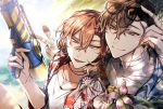 2boys blue_sky bottle brown_eyes brown_hair bungou_stray_dogs day dazai_osamu_(bungou_stray_dogs) drinking_straw eyewear_on_head flower grey_eyes hair_between_eyes hand_up hawaiian_shirt highres looking_at_viewer male_focus multiple_boys nakahara_chuuya outdoors shirt shunnyun sky sunlight super_soaker underwear wet