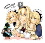 bangs blonde_hair blue_eyes blue_sailor_collar braid christmas_tree commentary_request corset crossed_bangs crown dress flower french_braid happy_holidays hat janus_(kantai_collection) jervis_(kantai_collection) kantai_collection long_hair long_sleeves mini_crown multiple_girls off-shoulder_dress off_shoulder parted_bangs red_flower red_ribbon red_rose ribbon rose sailor_collar sailor_dress sailor_hat upper_body warspite_(kantai_collection) white_background white_dress white_headwear yamada_rei_(rou)