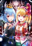 2girls :d ;d alternate_costume bangs bare_shoulders bat_wings black_bow black_dress black_gloves blonde_hair blue_hair blush bow bowtie bridal_gauntlets clenched_hand commentary_request crown crystal dress eyebrows_visible_through_hair flandre_scarlet flower frilled_hairband frilled_shirt_collar frills gloves hair_between_eyes hair_bow hair_flower hair_ornament hair_ribbon hairband hairclip hand_up lolita_hairband looking_at_viewer multiple_girls nail_polish one_eye_closed one_side_up open_mouth orange_bow orange_flower orange_neckwear red_eyes red_hairband red_nails red_ribbon remilia_scarlet renka_(cloudsaikou) ribbon short_hair siblings sisters smile touhou wings wrist_cuffs