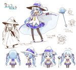 2014 black_legwear blue_collar blue_eyes boots cape cape_lift character_name character_sheet chibi closed_mouth collar collared_dress dera_fury dress eighth_note fingerless_gloves from_behind from_side gloves hair_ribbon hand_on_hip hat hatsune_miku highres lace lace-trimmed_dress layered_dress light_blue_hair long_hair looking_at_viewer magical_girl multiple_views musical_note necktie official_art open_mouth orb outstretched_arm pantyhose purple_gloves ribbon sleeveless sleeveless_dress smile snowflake_print snowflakes staff treble_clef twintails very_long_hair vocaloid white_cape white_dress witch_hat yuki_miku yuki_miku_(2014)