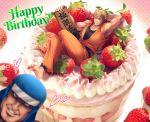 barefoot belt black_belt blonde_hair blue_eyes cake dougi food fruit fu-ha_jin hand_behind_head highres miru_(mill_36) photobomb ryou_sakazaki ryuuko_no_ken sign strawberry